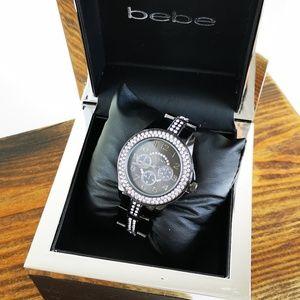 bebe Women's Classic Black Bling Rhinestones Watch